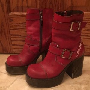 Vintage Red Leather Harley Boots size 6