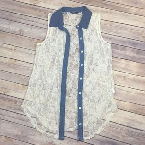 Ivory Lace and Chambray Tank