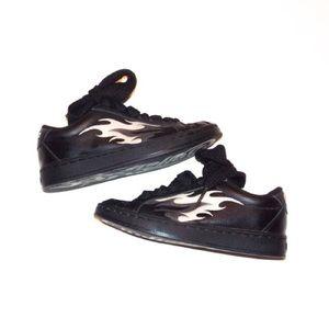 Leather Buffalo David Bitton flames sneakers shoes