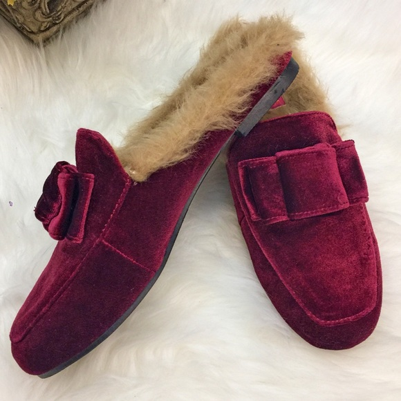 Catherine By Catherine Malandrino Velvet Loafers Slip On Faux Fur Lined Size 8.5