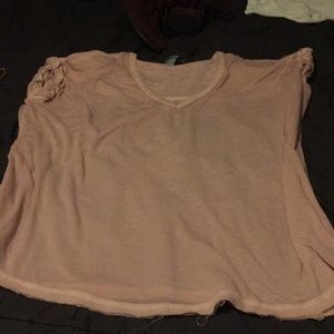 Pink v neck roll sleeve tee