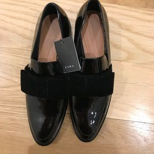 Zara Patent Leather Loafers w/ Velvet Bows