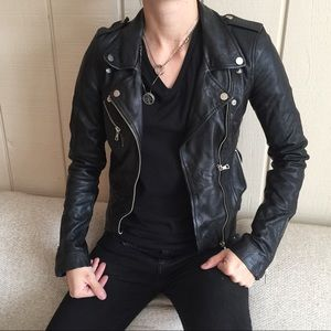 Zara Trafaluc Biker Leather Jacket -XS