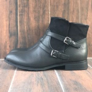 Buckle Threat Black Ankle Boots
