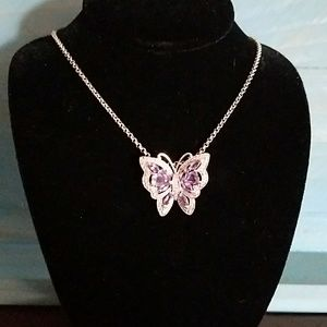 Jewelry - Pretty Sterling silver and amithist butterfly neck