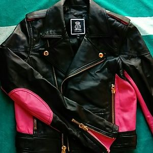 JUICY COUTURE  LEATHER JACKET BLK S