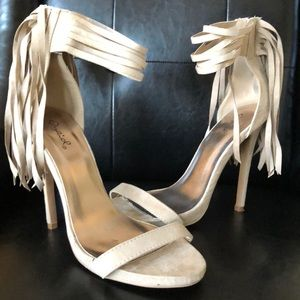 Re-Posh Taupe Fringe Sandals with Back Zip Entry