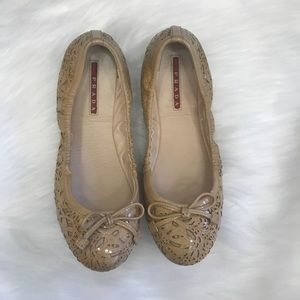 Prada Patent Leather Beige Ballet Flats Size 6