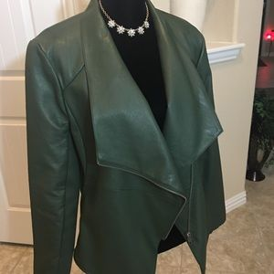 Green Faux Leather Jacket NWOT