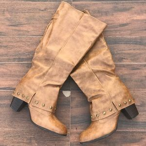 Tan Studs Knee High Riding Boots