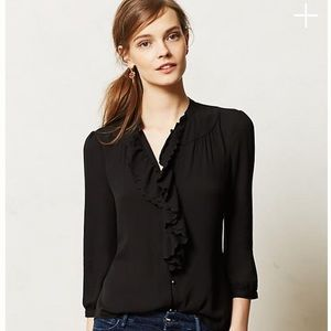 Anthropologie HD Paris Picea Ruffled top Navy sz 0