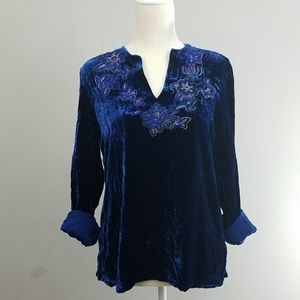 Chicos | Blue crushed velvet embroidered top