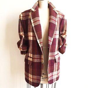 Vintage Wool Plaid 2 Button Boyfriend Blazer!