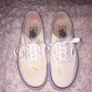 Men's 7 Cream Vans White Low Top