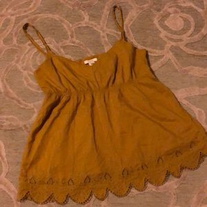 🌷J CREW🌷Golden tan cotton embroidered camisole