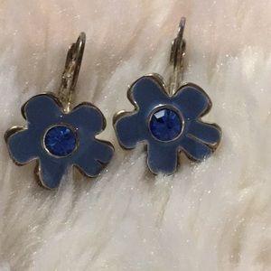 Jewelry - Blue & Silver Tone Flower Earrings