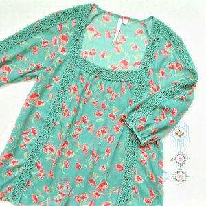 LC Lauren Conrad green floral chiffon lace blouse