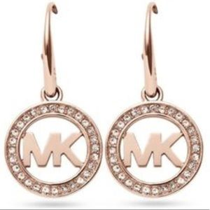Michael kors logo rose gold earrings nwt bling