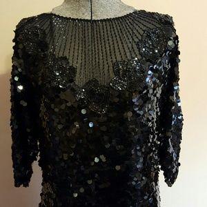Vintage Black Sequined Silk Gown