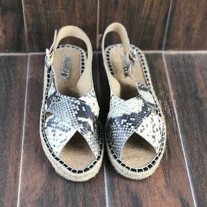 Croc Embossed Leather Jute Sandal