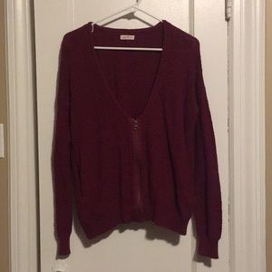 Red Knit Zip Up Sweater