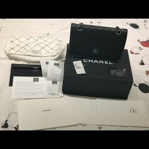 CHANEL classic medium double flap bag black silver