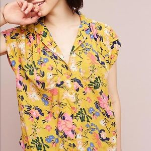 NWT Anthropologie Maeve Raffine Printed Top Size S