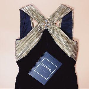 Vintage 80s Gold Brooch Black Velvet Midi Dress SM