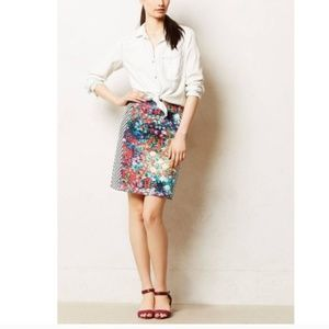 Anthro Floral and Stripe Mini Skirt