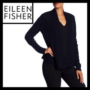 Eileen Fisher textured wool open cardigan