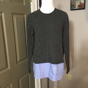 J Crew Charcoal sweater with shirt tail bottom