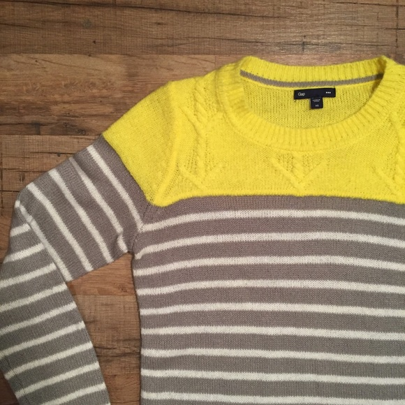 65% off GAP Sweaters - GAP neon acrylic yellow and gray stripe ...
