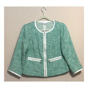 CAbi green and off white blazer