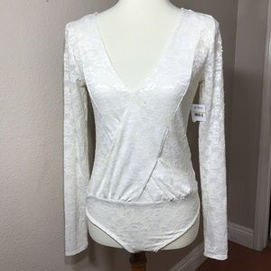 New Intimately Free People Ivory Lace Body Suit