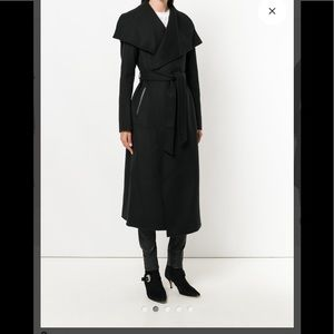 Mackage cashmere wool blend belted coat leather
