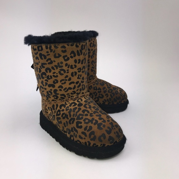 2f785365f19 UGG Kids Bailey Bow Leopard Boots Size 8