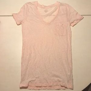 J. Crew pale pink v-neck linen pocket tee XS deep