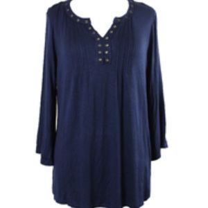 Style & Co. Navy Grommet-Embellished Top