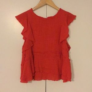 Anthropologie Brand Ruffle Sleeve Top
