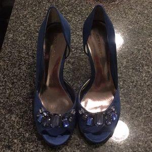 Ann taylor blue satin heels 7M
