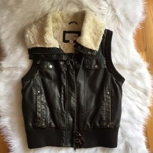 Faux Brown Leather and Fur Vest Size Large.