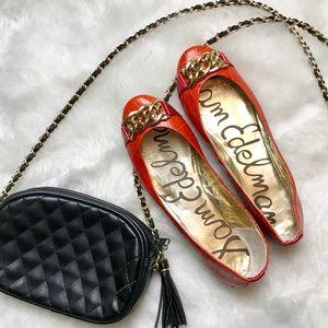 Sam Edelman Orange Leather Ballet Flats Size 8