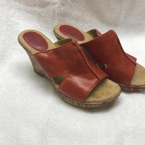 a568e6302e Born Shoes   Boc Genuine Red Flower Wedge Mules Sz 6m   Poshmark