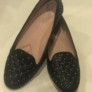 Black Leather Studded Vince Camuto Loafer