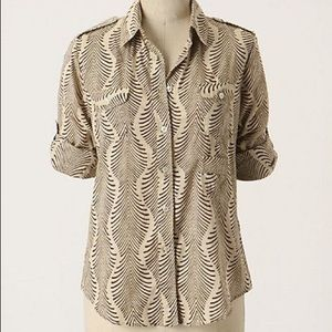 Anthropologie Fei Shine Through Zebra Print Shirt