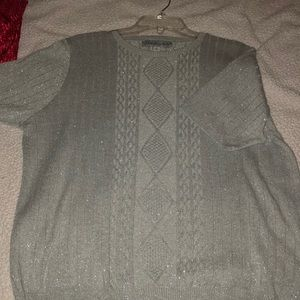 Short sleeved silver sweater.