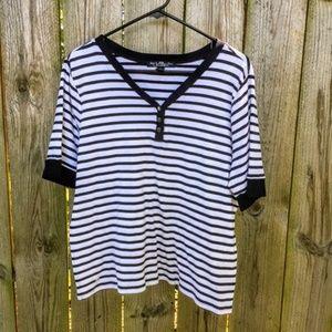 Ralph Lauren Blue Label Knit Top Blue White Stripe