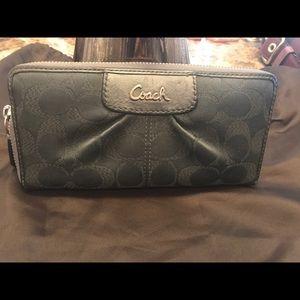 COACH accordion zip close wallet shimmery gray