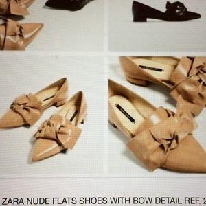 Zara Nude Flats with Bow