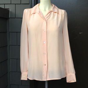 J. Crew peach 100% silk long sleeve button blouse